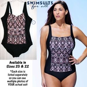 NWT in Package Square-Neck Swimsuit Neutral Aztec